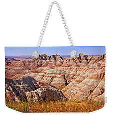 Weekender Tote Bag featuring the photograph Badlands by Mary Jo Allen