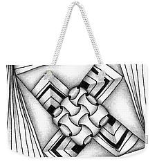 Weekender Tote Bag featuring the drawing Baecube String by Jan Steinle