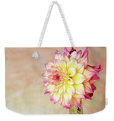 Weekender Tote Bag featuring the photograph Bahama Mama Dahlia by Mary Jo Allen