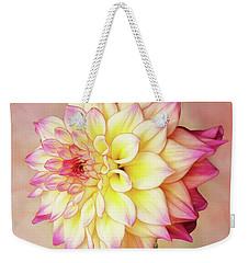 Weekender Tote Bag featuring the photograph Bahama Mama Dahlia Square by Mary Jo Allen