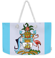 Weekender Tote Bag featuring the drawing Bahamas Coat Of Arms by Movie Poster Prints
