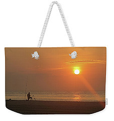 Baiting The Hook At Sunrise Weekender Tote Bag