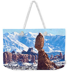 Weekender Tote Bag featuring the digital art Balanced Rock  Arches National Park by Kai Saarto