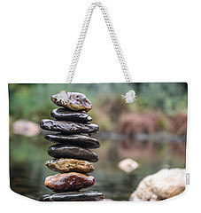 Balancing Zen Stones In Countryside River I Weekender Tote Bag