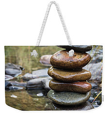 Balancing Zen Stones In Countryside River Vii Weekender Tote Bag