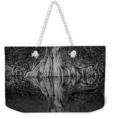 Bald Cypress Reflection In Black And White Weekender Tote Bag