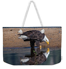 Bald Eagle And Reflection Weekender Tote Bag by Mitch Shindelbower