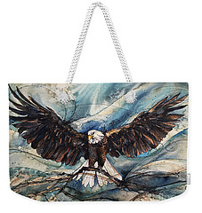Weekender Tote Bag featuring the painting Bald Eagle by Christy Freeman