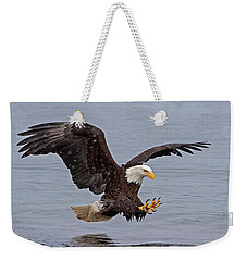 Bald Eagle Diving For Fish In Falling Snow Weekender Tote Bag