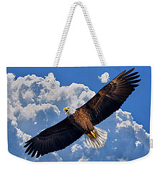 Bald Eagle In Flight Calling Out Weekender Tote Bag
