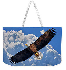 Weekender Tote Bag featuring the photograph Bald Eagle In Flight Calling Out by Justin Kelefas