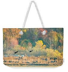 Bald Eagle Pair With Fish And Foliage Weekender Tote Bag by Jeff at JSJ Photography