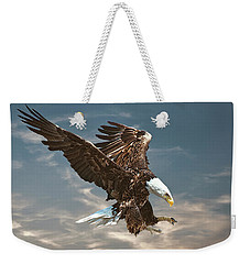 Weekender Tote Bag featuring the photograph Bald Eagle Swooping by Brian Tarr