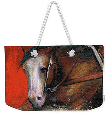 Weekender Tote Bag featuring the painting Bald Face by Frances Marino