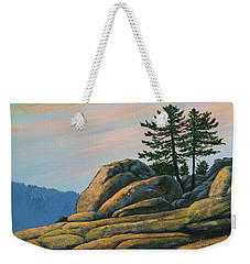 Weekender Tote Bag featuring the painting Bald Rock At Sunset by Frank Wilson
