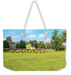 Baled Hay In A Grassy Field Weekender Tote Bag