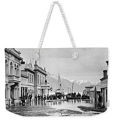 Weekender Tote Bag featuring the painting Ballarat Street, Queenstown, by Artistic Panda