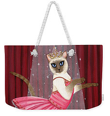 Weekender Tote Bag featuring the painting Ballerina Cat - Dancing Siamese Cat by Carrie Hawks