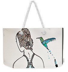 Weekender Tote Bag featuring the painting Ballerina  Hummingbird Love by Jasna Gopic