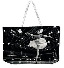 Weekender Tote Bag featuring the photograph Ballerina In The White Tutu by Dimitar Hristov