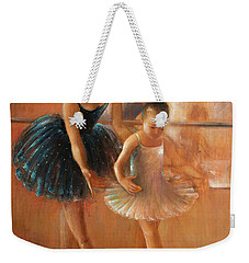 ballet lesson-painting on leather by Vali Irina Ciobanu  Weekender Tote Bag