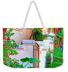 Weekender Tote Bag featuring the photograph Ballona Lagoon Gate by Chuck Staley