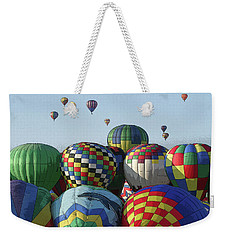 Weekender Tote Bag featuring the photograph Balloon Traffic Jam by Marie Leslie