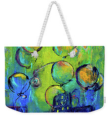 Cheerful Balloons Over City Weekender Tote Bag