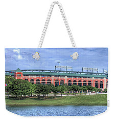 Weekender Tote Bag featuring the photograph Ballpark In Arlington Now Globe Life Park by Robert Bellomy