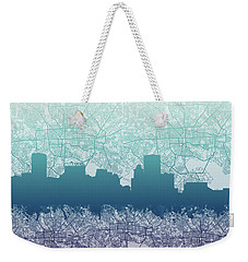 Weekender Tote Bag featuring the painting Baltimore City Skyline Map 2 by Bekim Art