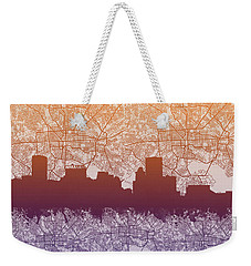Weekender Tote Bag featuring the painting Baltimore City Skyline Map by Bekim Art