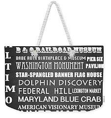 Baltimore Famous Landmarks Weekender Tote Bag