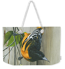 Weekender Tote Bag featuring the painting Baltimore Oriole by Mike Brown