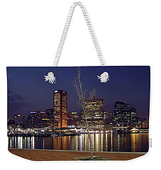 Weekender Tote Bag featuring the photograph Baltimore Reflections by Brian Wallace