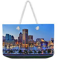 Baltimore Skyline Inner Harbor Panorama At Dusk Weekender Tote Bag