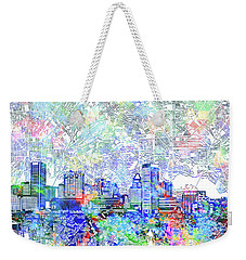 Weekender Tote Bag featuring the painting Baltimore Skyline Watercolor 10 by Bekim Art