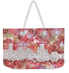 Weekender Tote Bag featuring the painting Baltimore Skyline Watercolor 13 by Bekim Art