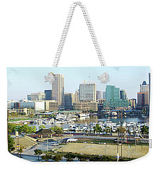 Weekender Tote Bag featuring the photograph Baltimore's Inner Harbor by Brian Wallace