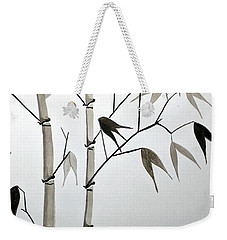 Weekender Tote Bag featuring the painting Bamboo by Edwin Alverio