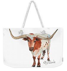 Texas Longhorn Bandero Watercolor Painting By Kmcelwaine Weekender Tote Bag