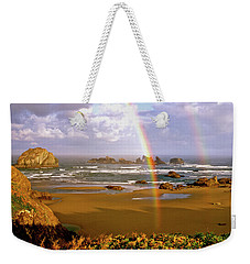 Bandon Beach Rainbow Sunrise Weekender Tote Bag