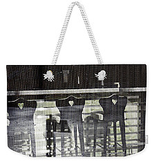 Weekender Tote Bag featuring the photograph Bar And Stools by Sarah Loft