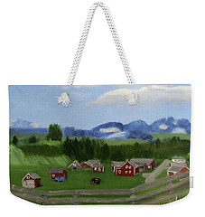 Weekender Tote Bag featuring the painting Bar U Ranch by Linda Feinberg