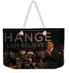 Weekender Tote Bag featuring the painting Barack Obama Campaigning by Artistic Panda
