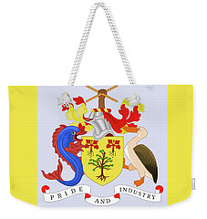 Weekender Tote Bag featuring the drawing Barbados Coat Of Arms by Movie Poster Prints
