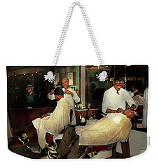 Weekender Tote Bag featuring the photograph Barber - A Time Honored Tradition 1941 by Mike Savad