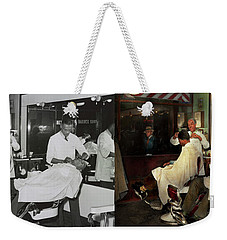 Weekender Tote Bag featuring the photograph Barber - A Time Honored Tradition 1941 - Side By Side by Mike Savad
