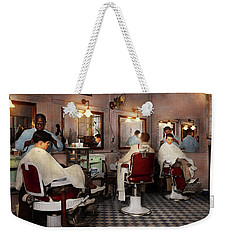Weekender Tote Bag featuring the photograph Barber - Senators-only Barbershop 1937 by Mike Savad