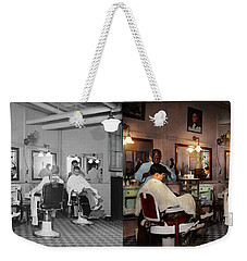 Weekender Tote Bag featuring the photograph Barber - Senators-only Barbershop 1937 - Side By Side by Mike Savad