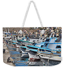 Harbour Of Simi Weekender Tote Bag by Wilhelm Hufnagl